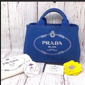 PRADA Canapa Fabric Printed Tote Bag